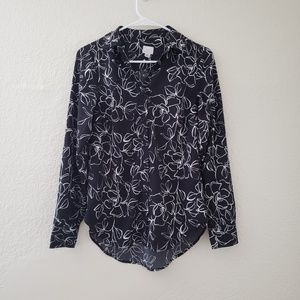 Floral Print Long Sleeve Shirt A New Day Black XS